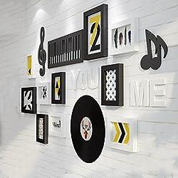 Foto Pared De Madera Maciza Moderno Minimalista Marco De Fotos Dormitorio De La Pared Sala De Estar Creativo 10 Cuadro Combinación De La Pared Pared De La Foto ( Color : Black White )