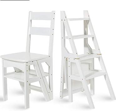 Geyao Escalera multifunción doméstica Taburete de madera maciza IKEA niños silla plegable escalera de cuatro pasos de uso doble escalera ascendente Madera color 38 × 39 × 60cm (Color : White): Amazon.es: Bricolaje y herramientas