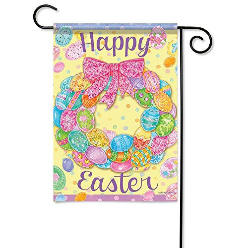 Carson Home Accents Flagtrends Classic Garden Flag, Happy Easter Egg Wreath