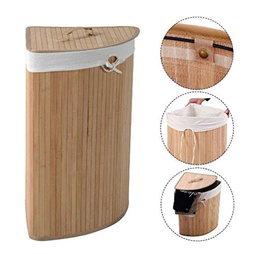 Corner Bamboo Laundry Hamper Washing Clothes Basket Bin Storage Bag Lid (Corner Bamboo)