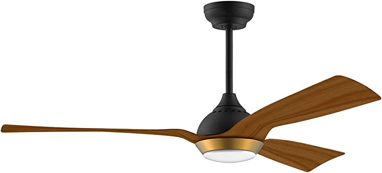 3 Color Temperature Switch glossy black 6-Speed reiga 52-in Ceiling Fan with LED Light Kit Remote Control Modern Blades Noiseless Reversible Motor