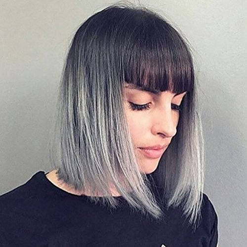 YOPO Grey Ombre Short Wig with Bangs - Silver Gray Ombre Wigs Dark Roots Bob Synthetic Hair Full Straight Wigs for Women with Free Wig Cap(Short Ombre Gray with Bangs) (Synthetic Wig Full)