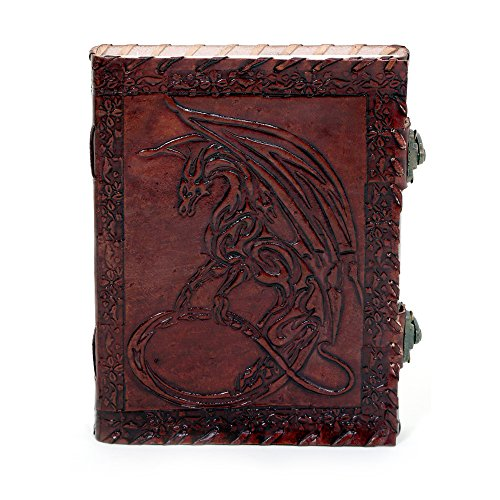 Imperial Handmade Leather Journal Embossed Moon dragon With Unlined Handmade Paper