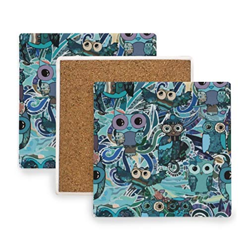 Owl Day Of Dead Halloween Ceramic Coasters for Drinks,Square 4 Piece Coaster Set -