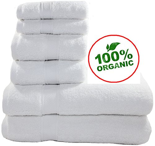 100% Organic Turkish Cotton Premium Quality Luxury Hotel & Spa Turkish Towels Super Soft, Plush, Ultra Absorbent, Quick dry, long lasting (White, Towel Set - Set of 6)