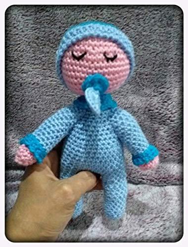 Peluche dormilón azul con chupete, especial bebés, de ganchillo ...