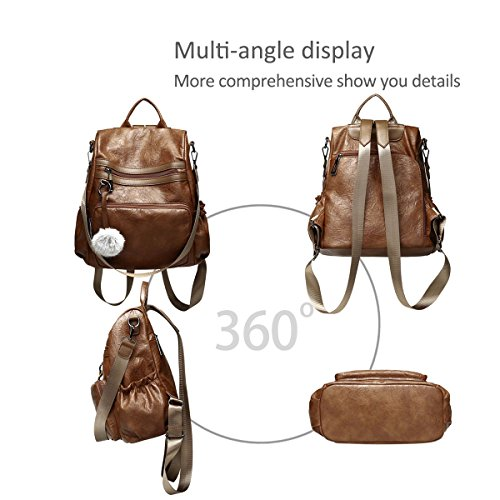 Shoulder Travel Backpack Women B Brown Bag Fashion PU NICOLE Schoolbag amp;DORIS Girls Leather Daypack qtnSY