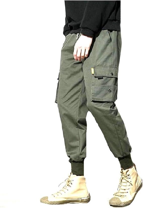 cheelot メンズビームフットトラウザーズビッグポケットアウトウェアカーゴワークパンツ