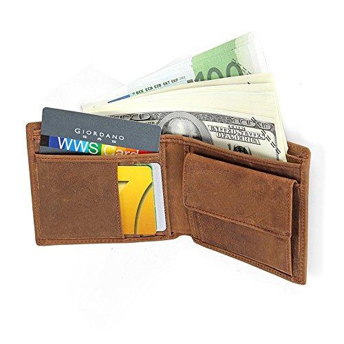 Mens Leather RFID Blocking Slim Fold Wallet Coin Pocket Bifold Wallet