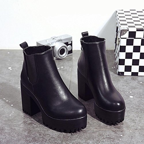 Women Boots - Honestyi - Square Heel Platforms Leather Thigh High Pump Boots Shoes-Artificial leather、Plastic Black tKh4NoIA