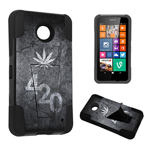 DuroCase ® Nokia Lumia 635 Kickstand Bumper Case - (Leaves 420 Black)