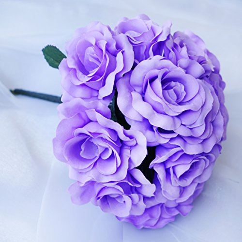 BalsaCircle 4 Lavender Velvet Roses Bouquets - Artificial Flowers Wedding Party Centerpieces Arrangements