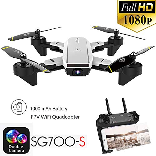 Rc Airplane,RC Helicopter,Drones Parts,Remote Control,SG700-S 2.4Ghz 4CH Wide-angle WiFi 1080P Optical Flow Dual Camera RC Quadcopter Drone Hover Toys for Adults,Rc Plane,Helicopter Sky R (White)