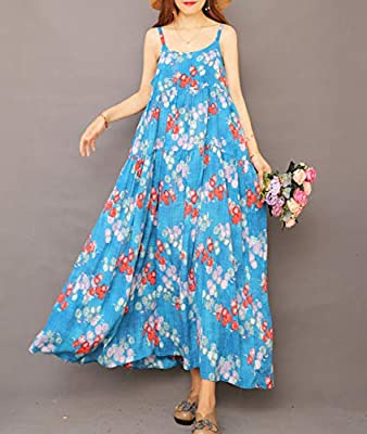 YESNO Women Casual Loose Bohemian Floral Print Empire Waist Spaghetti Strap Long Maxi Summer Beach Swing Dress E75