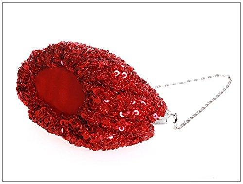 Whoinshop da donna in metallo, con perline e lustrini Evening Clutch Bag Rosso (rosso)