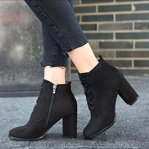 KHSKX-Black 8.5Cm Strap Boots Winter New Korean Version Of The Thick With A Square Satin Side Zip Women High-Heeled Boots Martin Boots 35 8xZLnMA