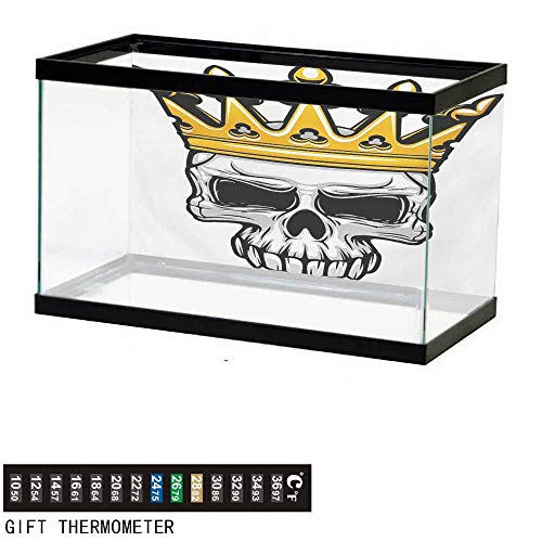 wwwhsl Aquarium Background,King,Hand Drawn Crowned Skull Cranium with Coronet Tiara Halloween Themed Image,Golden and Pale Grey Fish Tank Backdrop 48