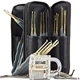 Practice Transparent lock Set, Visible Inner Parts and 29 Piece Picking Tools Clear Crystal Cutaway Lock, Improving Training Skill For Locksmith