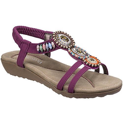Fleet & Foster Ladies T Bar Slingback Summer Sandals Style Kayo Colour Various Plum rwM5Wr9vsi