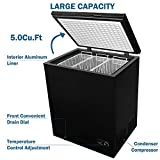 5.0 Cubic Feet Chest Freezer with Removable Basket, from 6.8℉ to -4℉ Free Standing Compact Fridge Freezer for Home/Kitchen/Office/Bar