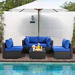 Garden and Outdoor JY QAQA 5pcs Patio Outdoor Furniture Sets,All-Weather Black Wicker Rattan Patio Conversation Sofa,Sectional Couch with… outdoor lounge furniture