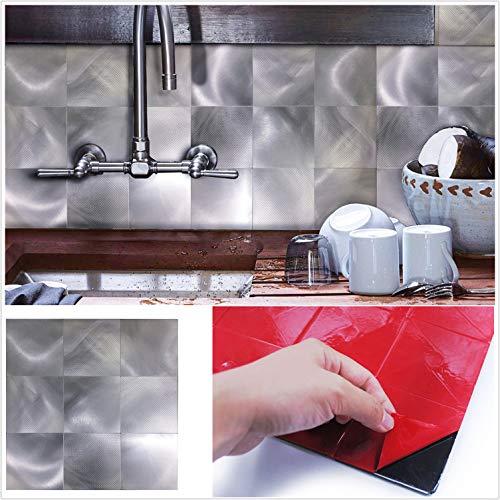 HomeyStyle Peel and Stick Tile Backsplash for Kitchen Wall Decor Aluminum Surface Metal Mosaic Tiles Sticker,Gradient Silver Nine Square Plaid,12