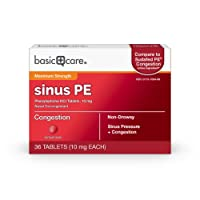 Amazon Basic Care Maximum Strength Nasal Decongestant PE, Phenylephrine HCl, 10 mg tablets. Nasal and Sinus Congestion, Sinus Pressure, 36 Count