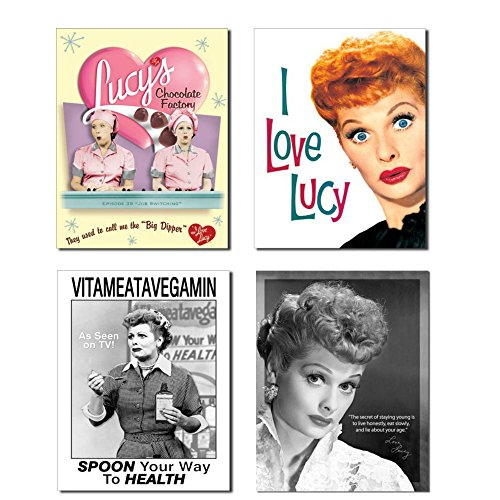 Bundle: I Love Lucy Tin Sign Gifts Collection - Lucy Chocolate Factory, I Love Lucy, Lucy Vitameatavegamin and Lucy Staying -