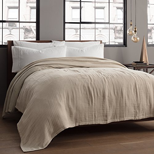 Kenneth Cole Reaction Home Soft & Cozy Reversible Cotton Woven Blanket - Twin - (Cotton Travel Blankets)