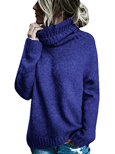 Sherrylily Womens Turtleneck Long Sleeve Knit Sweaters Loose Cut Side Pullover Jumpers Navy ()