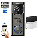 Wifi Video Doorbell, with 1 plug-in Chime,Video Door Phone Intercom with HD 720P Camera, Working with IOS and Android Smart Phones and Tablets