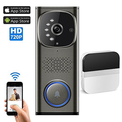 Wifi Video Doorbell with 1 plug-in ChimeVideo Door Phone Intercom with HD 720P Camera Working with IOS and Android Smart Phones and Tablets  sc 1 st  Amazon.com & Wireless Doorbell with Camera: Amazon.com
