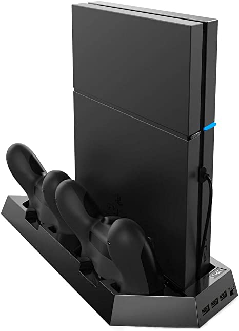 [New Version]Criacr PS4 Slim Vertical Stand with Cooling Fans,3-port USB Hub for SONY PlayStation 4/Slim,Space Saving Charging Station,with Dual ...
