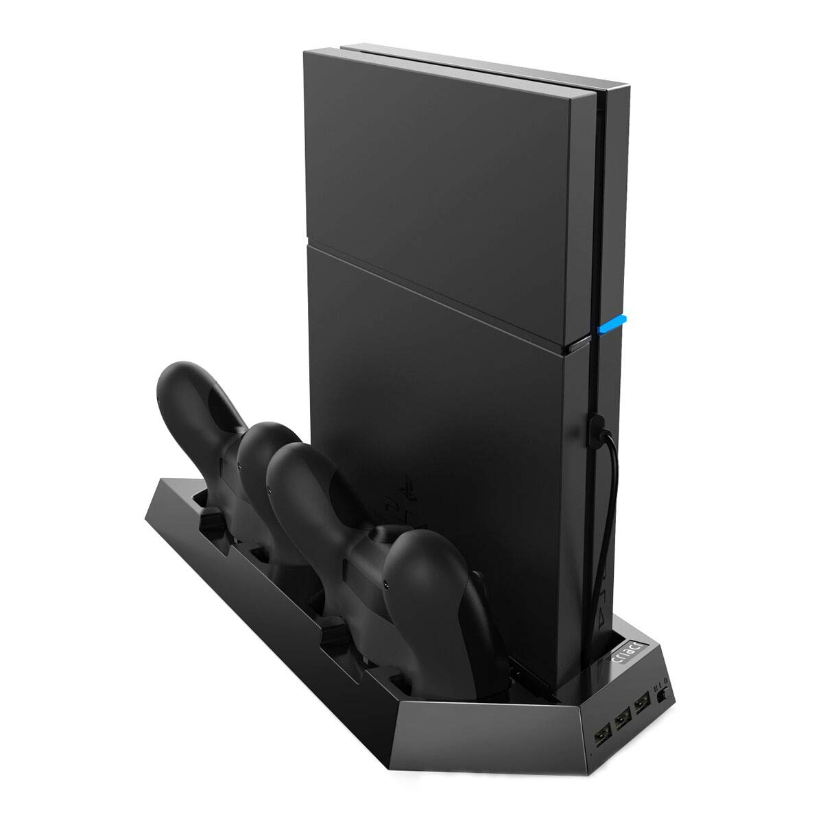 Criacr Vertical Stand for PS4 Slim with Cooling Fans, 3-port USB Hub for SONY, PlayStation 4/Slim, Space Saving Charging Station, Dual Charger for DualShock 4 Wireless Controllers by Criacr