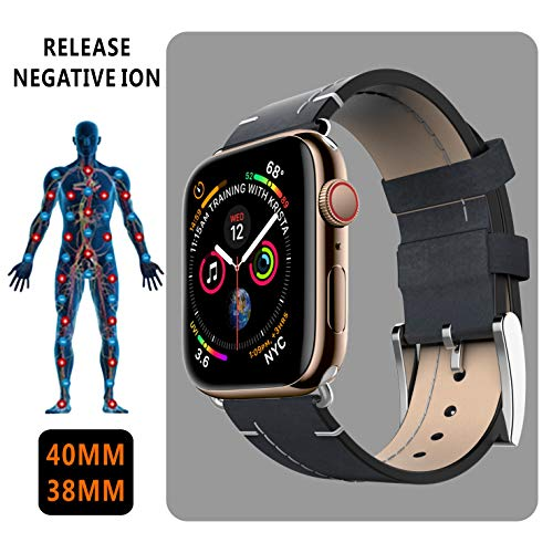Element Care - Bio Elements Energy Health Care Band for Arthritis and Carpal Tunnel, Negative Ion Energy Genuine Leather Replacement Band Compatible with Apple Watch Series 4 (40mm) Series3 Series2 Series1 (38mm)