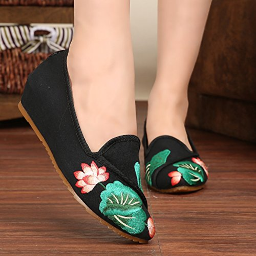 Women's embroidered shoes national style retro thin shoes ( Color : Black , Size : US:5.5\UK:4.5\EUR:36 )