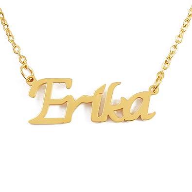 Kigu Erika Collar con Nombre - Chapado en Oro Personalizado de 18 ...