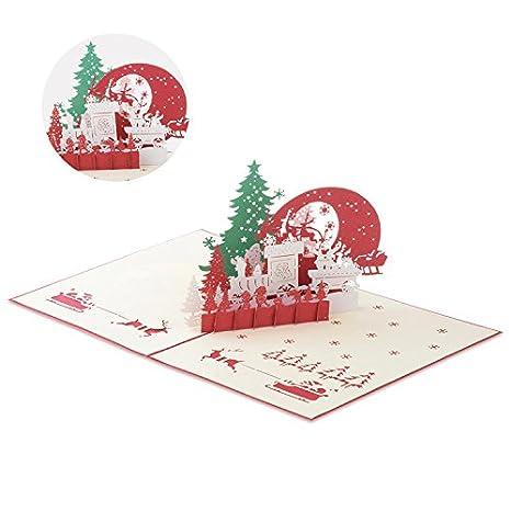 Jzoeoeu Christmas Eve Pop Up Greeting Card 3d Xmas Cards
