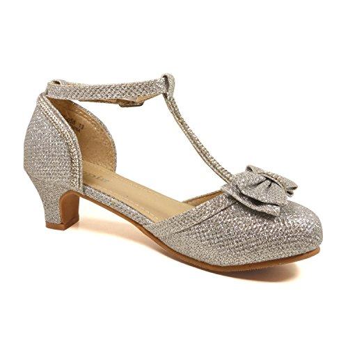 Shoes Silver Utopia Toddler Little Heel Girls Girl Flower Medium 4 Aahb Dress Low Nova Sandal 9 Size qPwadq