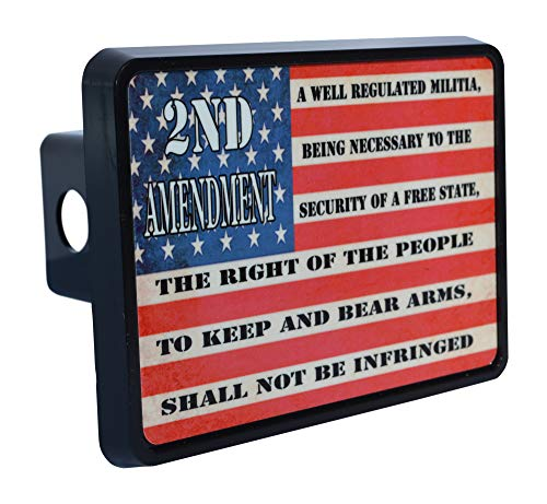 Rogue River Tactical USA American Flag 2nd Second Pro Gun Amendment Trailer Hitch Cover Plug US
