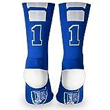 Custom Team Number Crew Socks | Athletic Socks by ChalkTalkSPORTS | Blue | 11