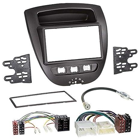 Autoradio Einbauset 1-DIN Peugeot 107 05-14 Kabel Einbaurahmen schwarz