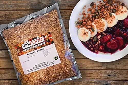 Copos de Centeno - 3kg - Cereales de Salvado Nutritivo Natural - Apto para Veganos - Alto contenido en Fibra
