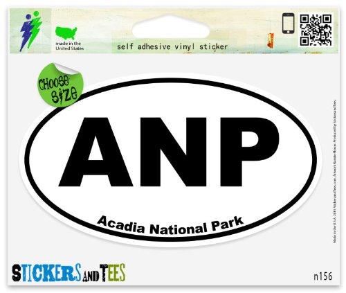 "Acadia National Park oval Vinyl Car Bumper Window Sticker 3"" x 2"""