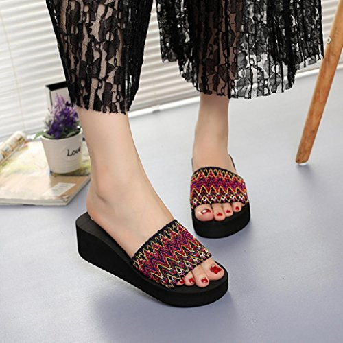 Lolittas Summer Beach Boho Wedge Sandals Slipper for Women,Cheap Black Platform Block High Mid Heel Wide Fit Peep Toe Outdoor Shoes Size 2-6 Red