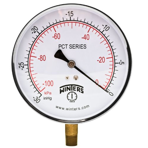 (Winters PCT Series Stainless Steel 304 Dual Scale Contractor Pressure Gauge, 30