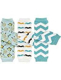 Baby 3-Pair Leg Warmers, Owls, Moustaches, Blue Chevron