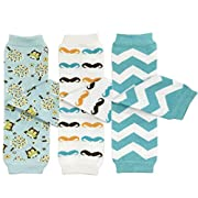 Bowbear Baby 3-Pair Leg Warmers, Owls, Moustaches, Blue Chevron