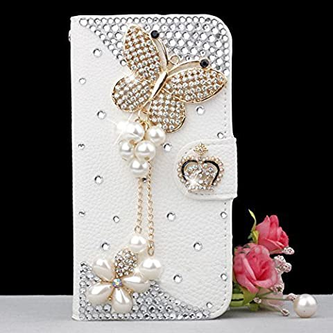 Iphone 5C Case,HAOTP(TM) White Luxury 3D Fashion Handmade Bling Crystal Rhinestone PU Flip Wallet Leather Case Cover for apple iphone 5C (Pearl (3d Bling Cases For Iphone 5c)