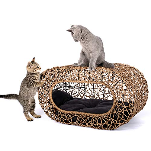 Fun Stackable Wicker Cat Hideaway House - Interactive Play Rattan Cat House for Indoor Cats Kitty, Pet Friendly Top/Side House Entry, Cat Bed Enclosed ()